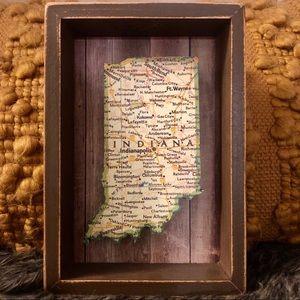 Vintage Wood Art Map of Indiana
